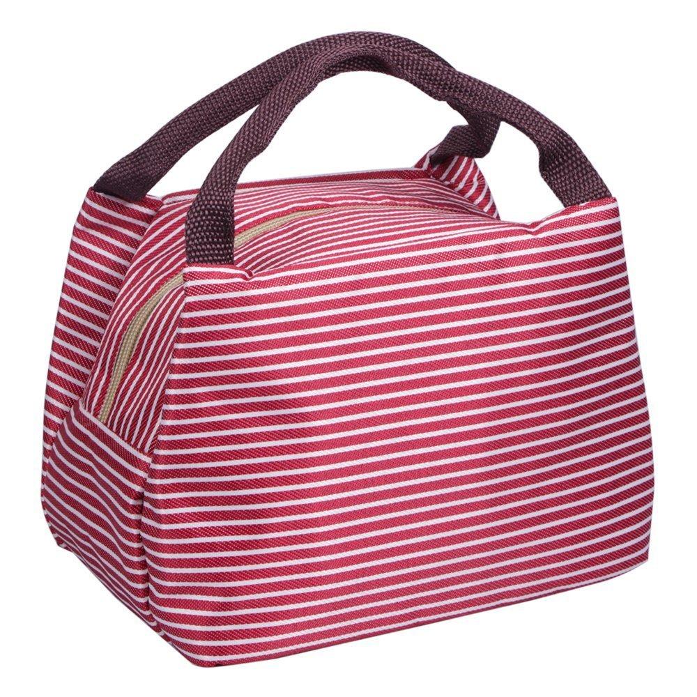 PHILORN Borsetta Porta Pranzo Termica Pranzo Borse Borsa Alimenti Lunchbox per Scuola e Ufficio (Medium, Rosa con Onde)