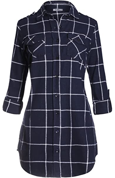 688f64f6114 2LUV Women s Long Sleeve Oversize Flannel Shirt Dress at Amazon Women s  Clothing store