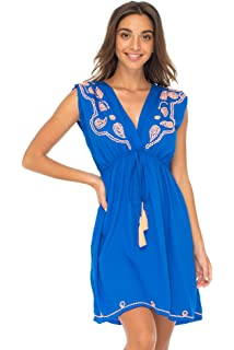 6e0ce9f6bf2d Back From Bali Womens Dress Boho Embroidered Sleeveless Summer Sundress  Deep V Neck Midi Short Dress
