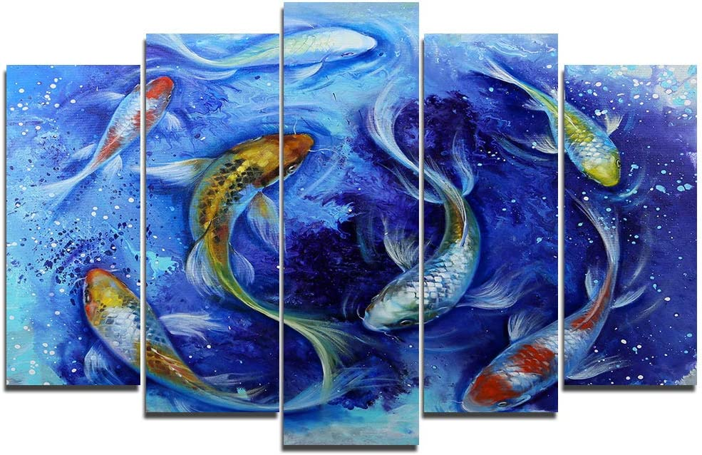 Faicai Art 5 Piece Canvas Wall Art Prints Koi Fish Paintings With Blue Large Animal Printings Wall Posters Artwork Pictures For Living Room Wall Decor Home Office Stretched And Framed 70 W X 40 H Posters Prints