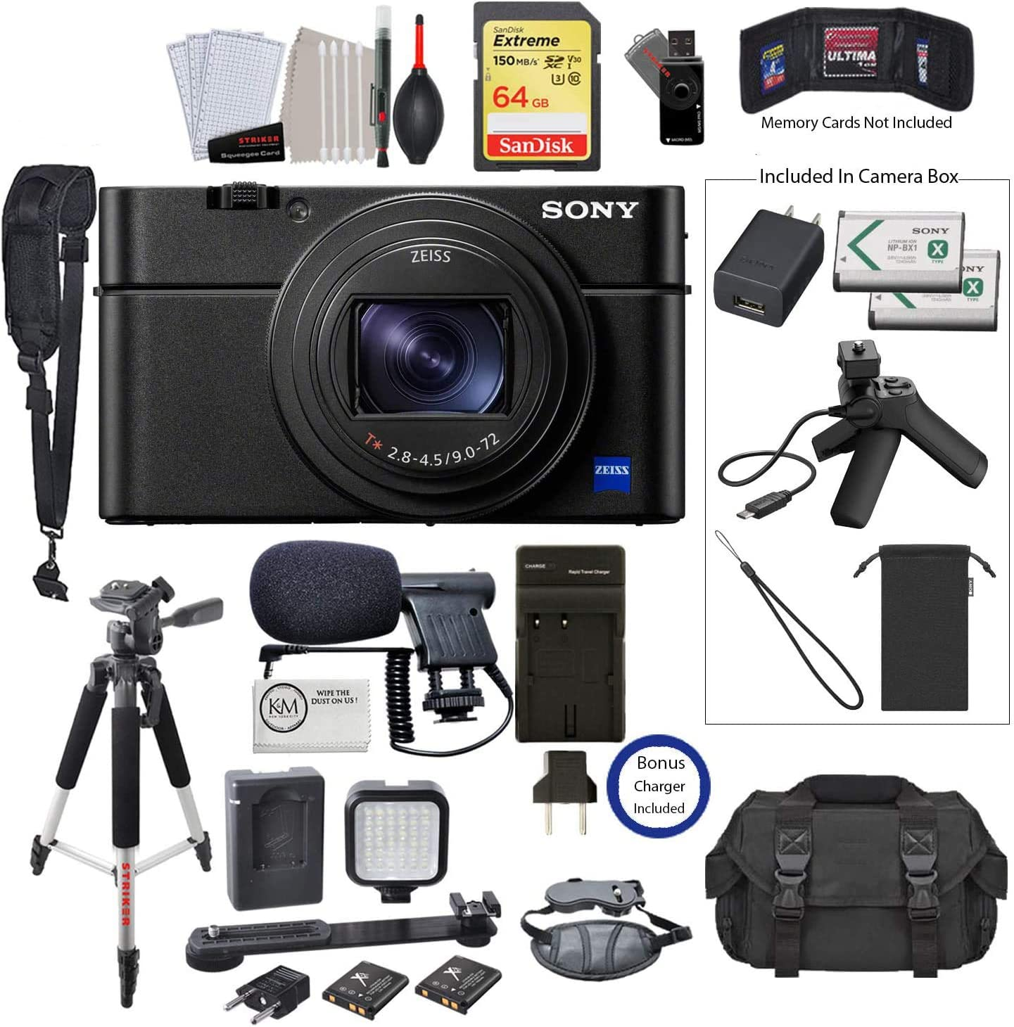 Sony Cyber-Shot DSC-RX100 VII Digital Camera with Shooting Grip Kit and Video Bundle: Includes 64GB Extreme Memory Card, Battery Charger for NP-BX1, Led Kit, Microphone, and 12 Tripod