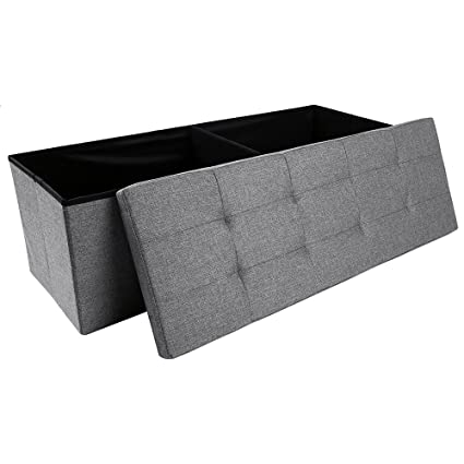 Epeanhome Storage Ottoman,Folding Storage Bench, Linen Like Fabric And  Foldable Stool Thickening