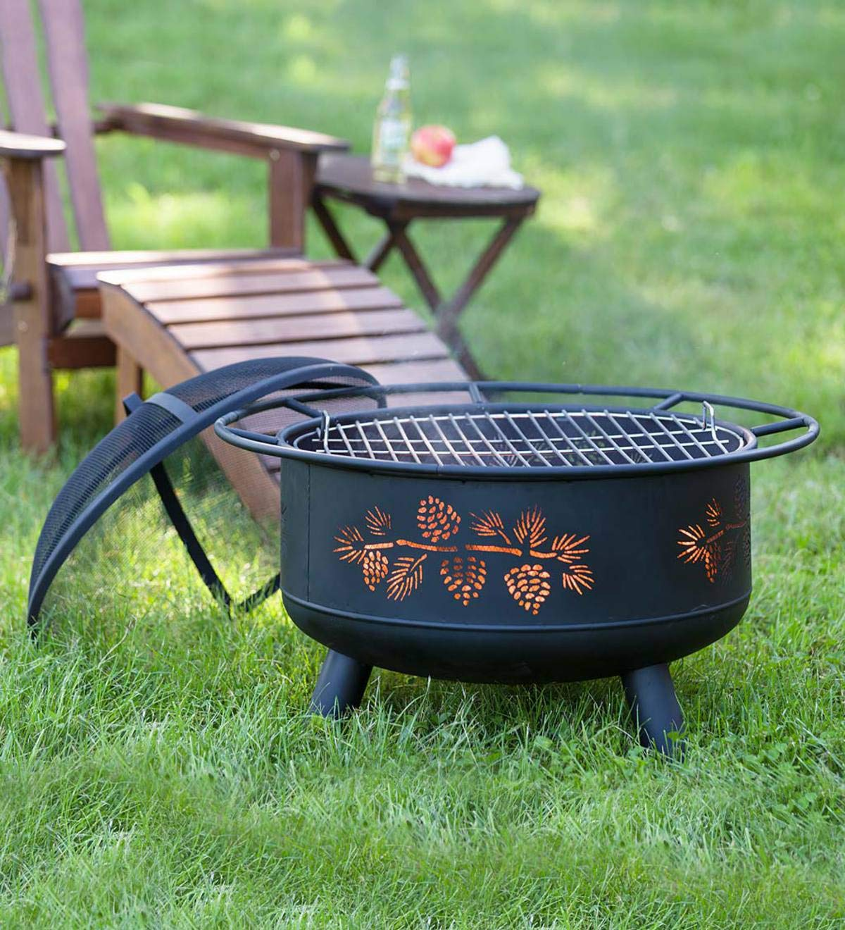 Pine Cone Wood Burning Fire Pit - 30'' Dia. x 23''H - Black Plow & Hearth