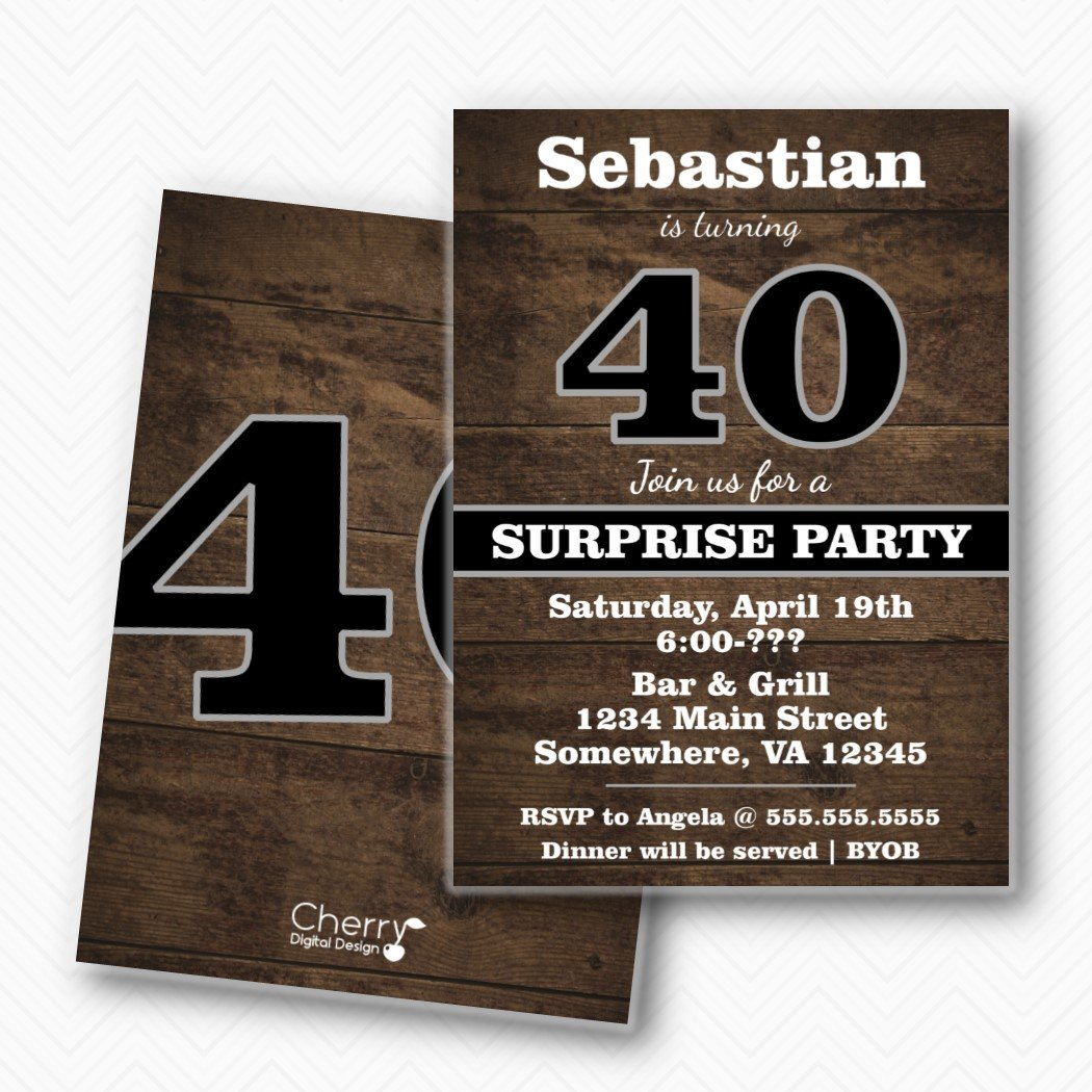 Amazon Rustic Wood Surprise 40th Birthday Party Invitations