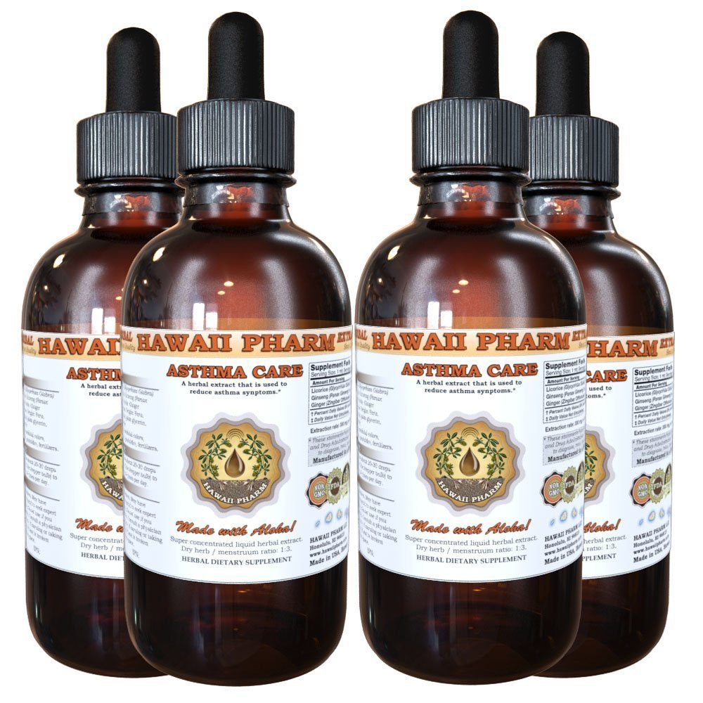 Asthma Care Liquid Extract, Licorice (Glycyrrhiza Glabra) Root, Red Ginseng (Panax Ginseng) Root, Ginger (Zingiber Officinale) Root Tincture Supplement 4x4 oz