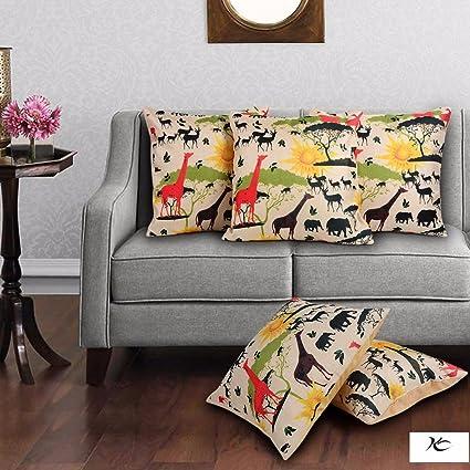 Buy indoAmor Polyester Jute Cushion Covers, Multicolor, Digital