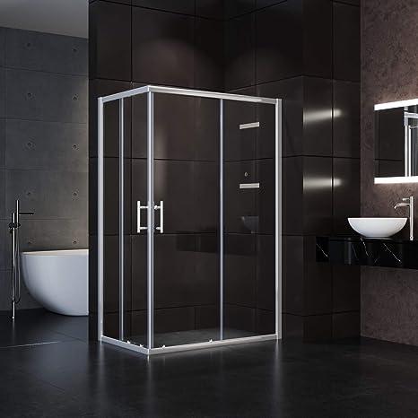 76x76x195cm Duschkabine Eckdusche Schiebetür Duschabtrennung Duschtür Echtglas