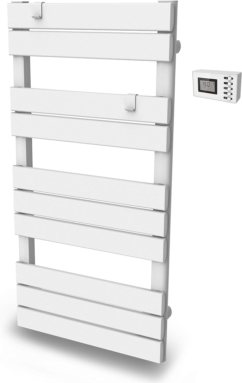 Toallero de barra plana, seca, calentador, 500 W, programable, color blanco