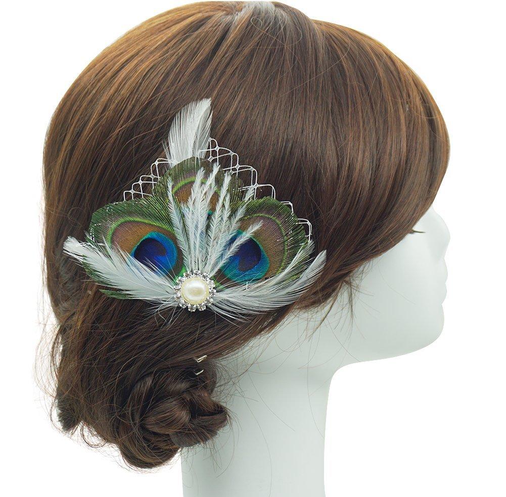 Blank K Peacock Feather Hair Clip,Birdal Wedding Hair Accessory,Birdcage Fascinator