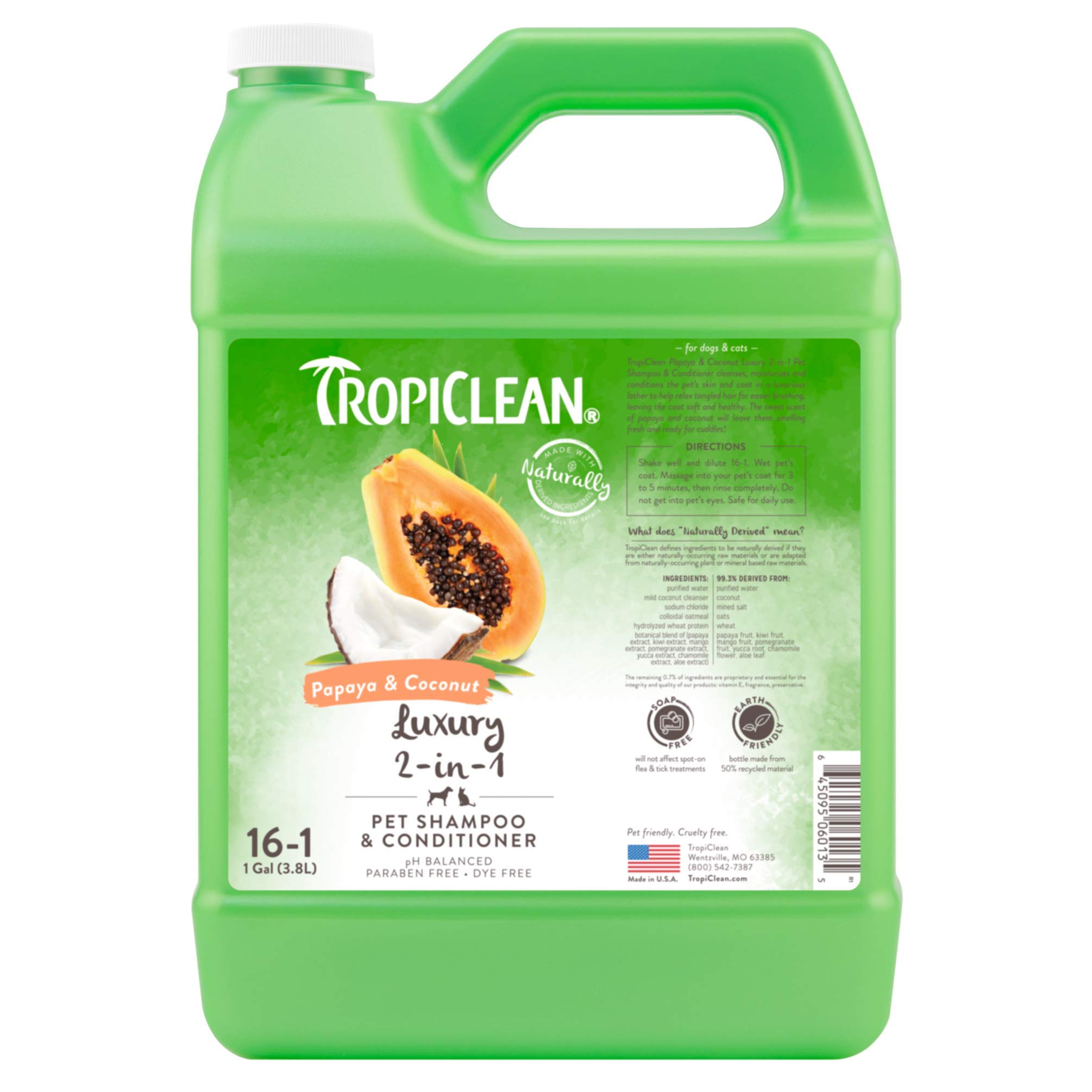 TropiClean Papaya & Coconut 2-in-1 Pet Shampoo, 1 Gallon by TropiClean