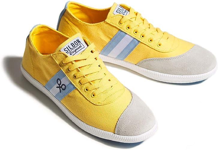 SILBON - Zapatilla Lona Amarilla Raya Celeste para Hombre: Amazon.es: Zapatos y complementos