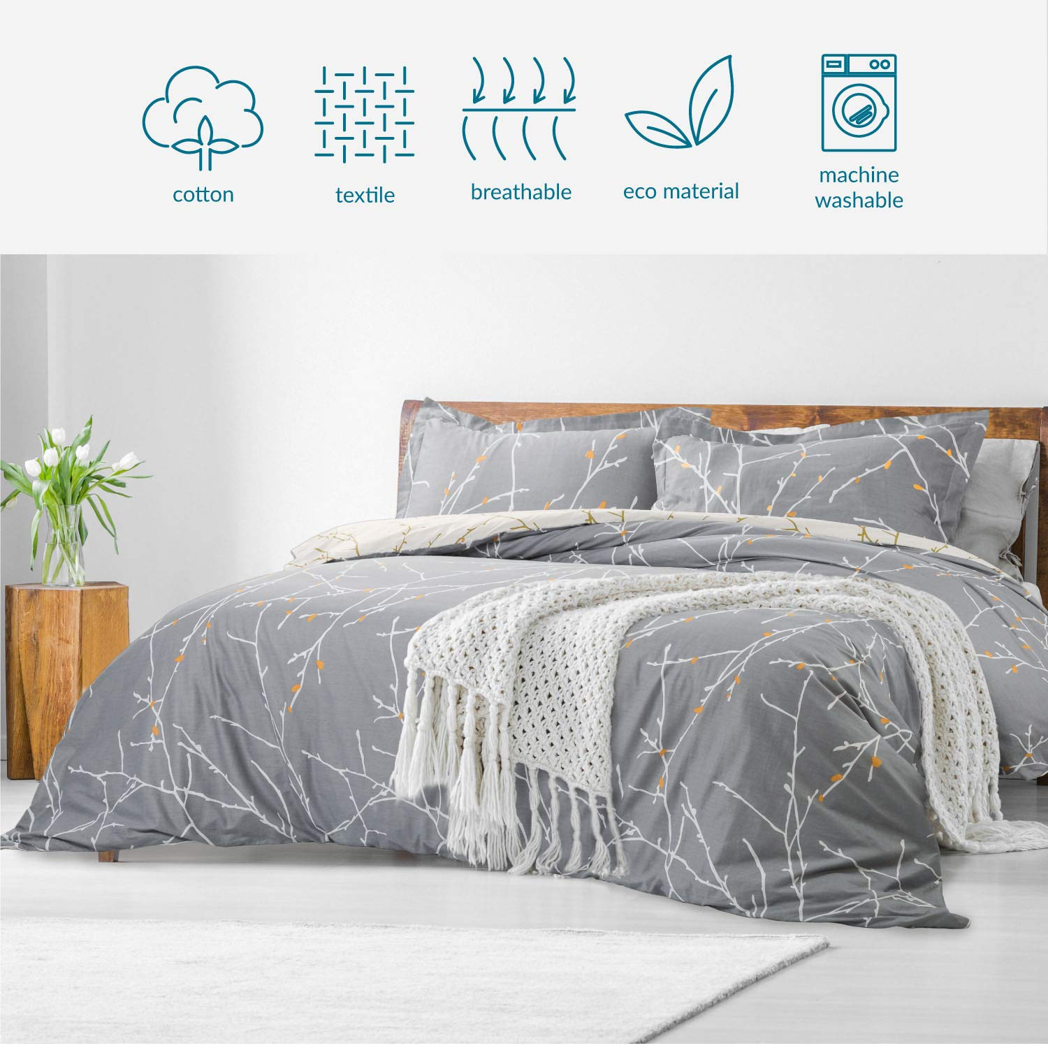 Bedsure 100% Cotton Duvet Cover Set Full Queen Size Grey/Ivory Reversible Comforter Cover Tree Branch Bedding Sets (1 Duvet Cover + 2 Pillow Shams) by Bedsure (Image #7)