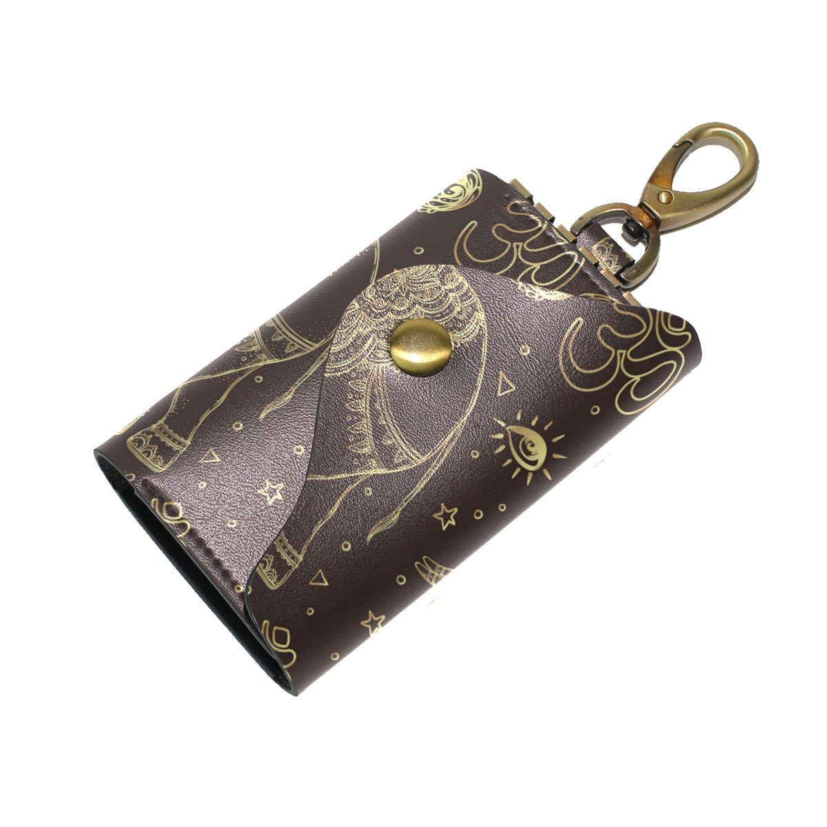 DEYYA Ethnic Mandala Elephant Tribal Leather Key Case Wallets Unisex Keychain Key Holder with 6 Hooks Snap Closure
