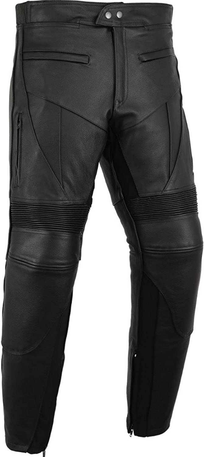 Mens Black Cowhide Leather Motorcycle//Motorbike Leathers With Sliders Great Size Range