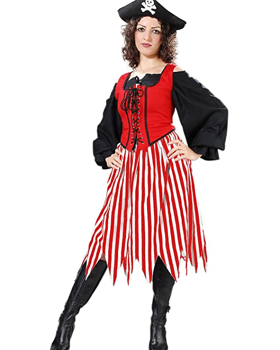 aeaaf9dd42c ... Women s Medieval Renaissance Wench Alvilda Red   White Cotton Striped Pirate  Skirt with Ziz-Zag