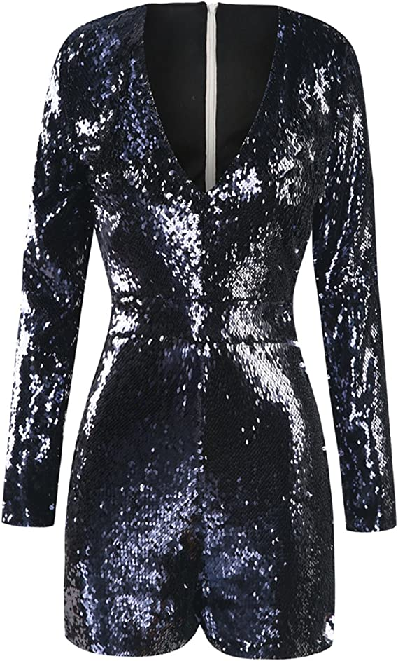 1960s Style Clothing & 60s Fashion HaoDuoYi Women Mardi Grass Sparkly Sequin V Neck Party Clubwear Romper Jumpsuit $29.99 AT vintagedancer.com