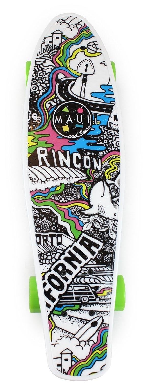Amazon.com : Maui & Sons Printed Kicktail Cali Skateboard : Sports & Outdoors
