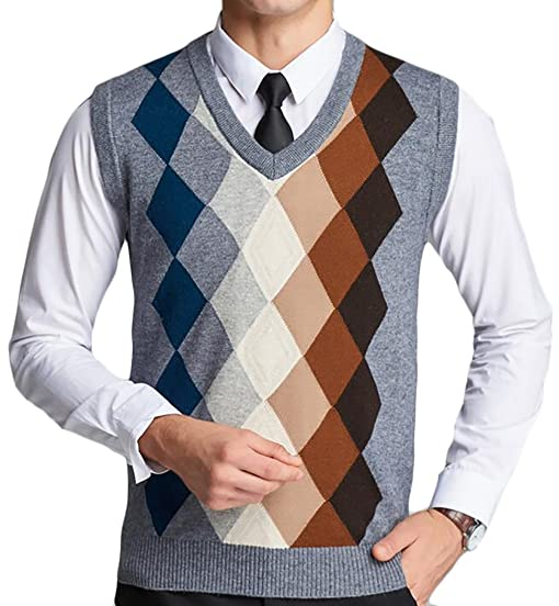 Jaycargogo Men's Slim Fit Argyle Plaid V-Neck Sweater Vest at ...