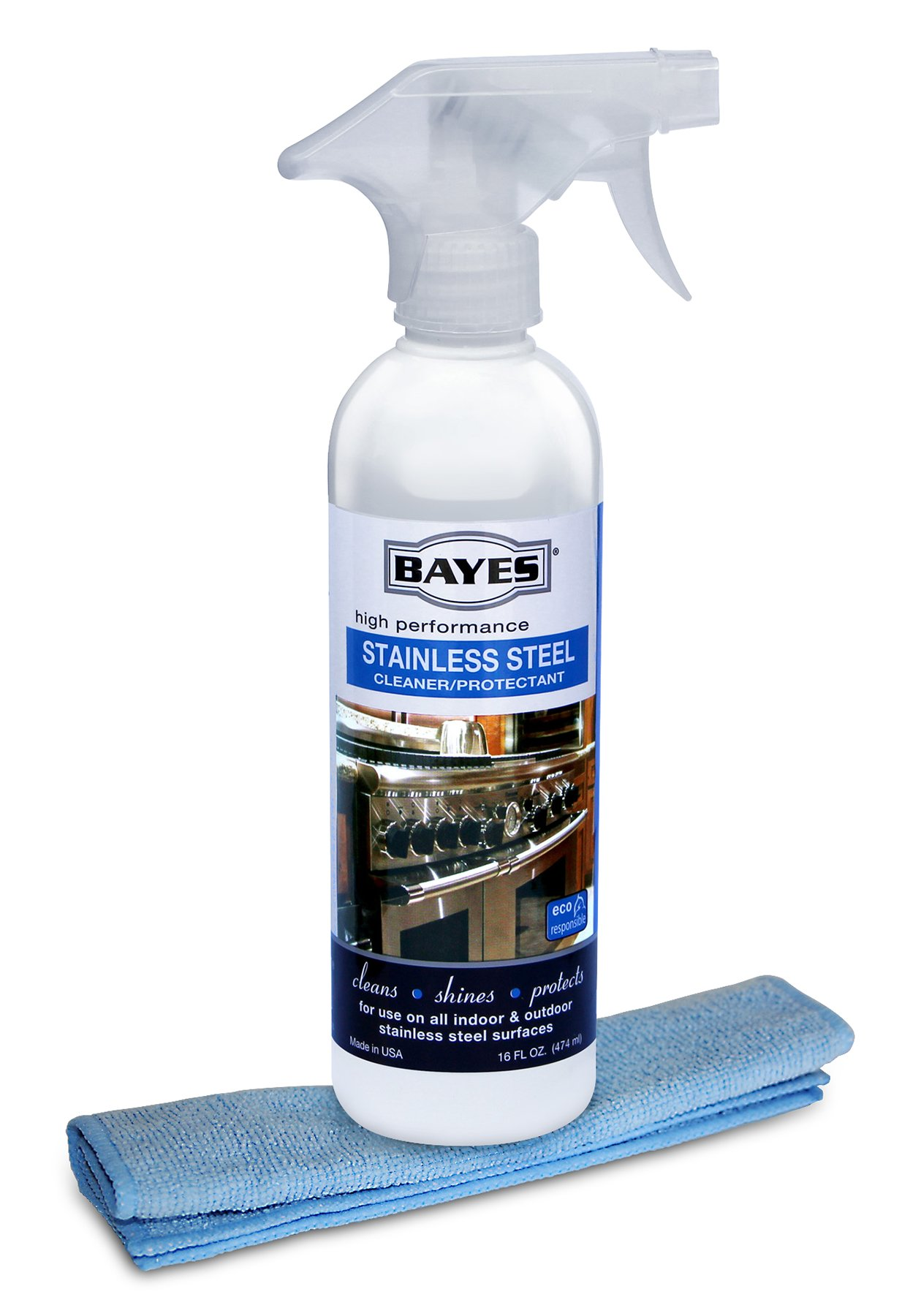 Bayes High-Performance Stainless Steel Cleaner, Polish, and Protectant - Includes Microfiber Cloth - Cleans, Shines and Protects Indoor and Outdoor Stainless Steel Surfaces - 16 oz by Bayes