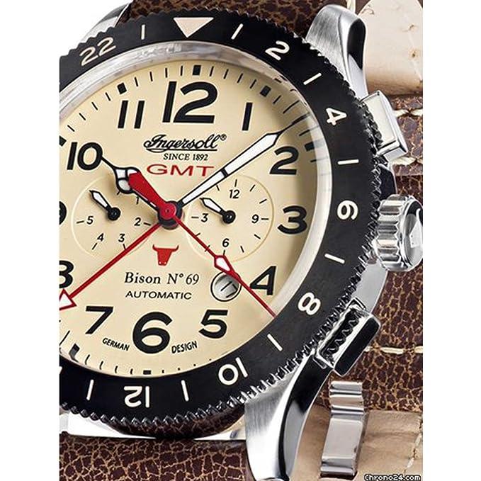 Ingersoll IN3224CR marrón banda de correa de piel marrón esfera reloj reloj: Amazon.es: Relojes