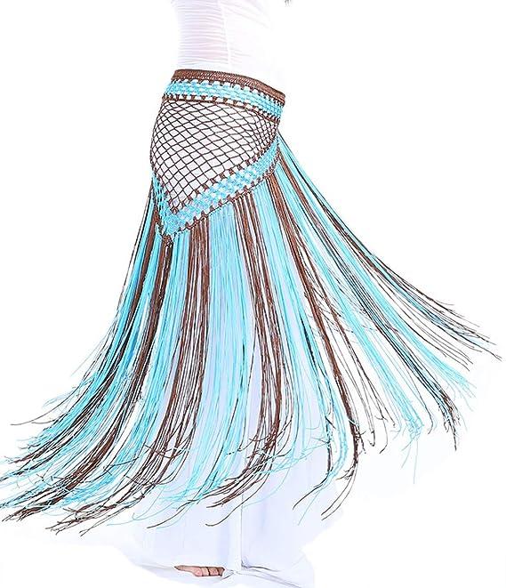 Lauthen.S Women Belly Dance Hip Scarf 2 Tone Tassel Triangle Beach Wrap Skirt Waist Chain