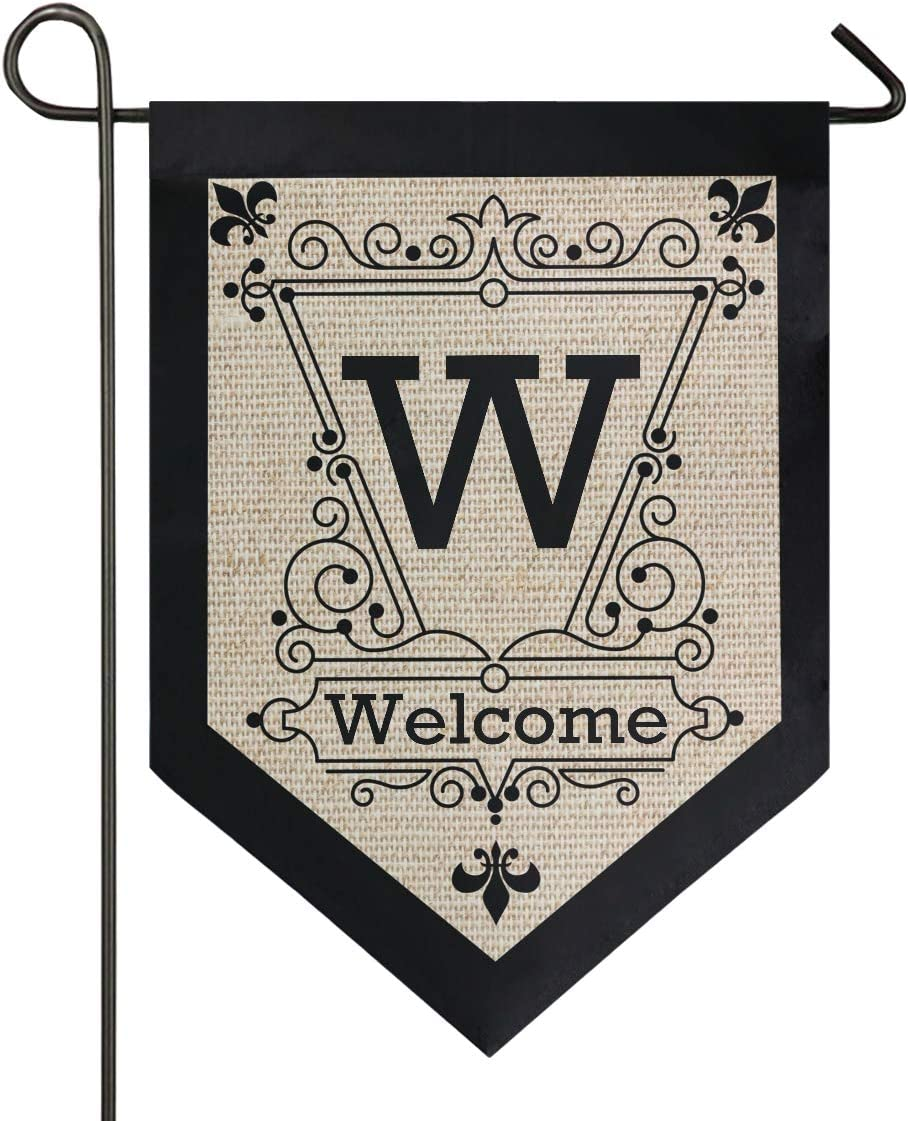 Oarencol Vintage Monogram Letter W Welcome Fleur De Lis Flower Garden Flag Double Sided Home Yard Decor Banner Outdoor 12.5 x 18 Inch