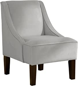 Skyline Furniture Swoop Arm Chair in Velvet Light Grey