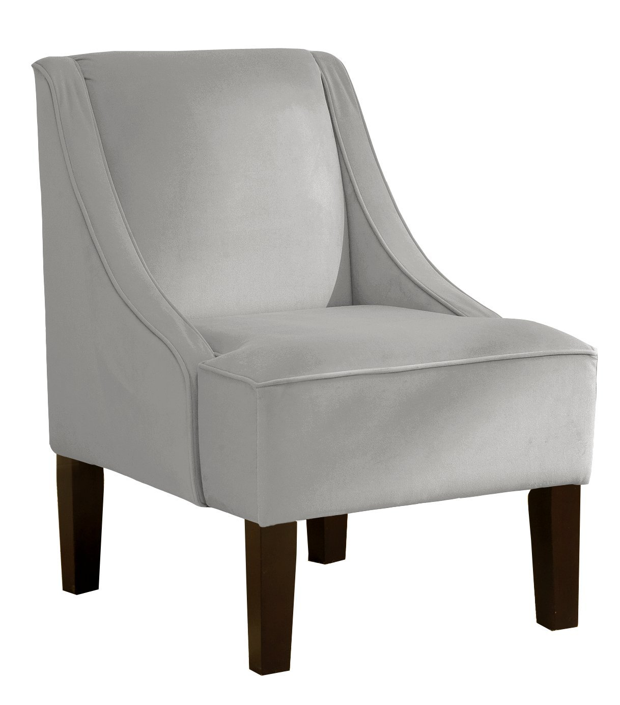 Amazon.com: Skyline Furniture Swoop Arm Chair In Velvet Light Grey: Kitchen  U0026 Dining