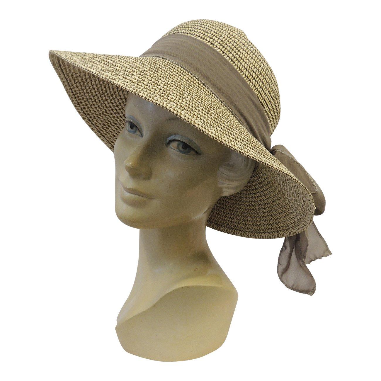 e5bc8bd270cc63 New Retro Wide Brim Raffia Chiffon Summer Sun Hat 1920's 1930's 1940's Style:  Rosa Rosa: Amazon.co.uk: Clothing