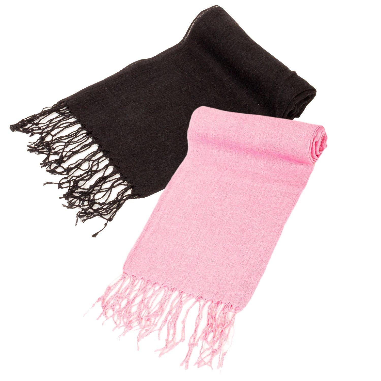 2 Pack Women's Lightweight Linen Flat Soft Scarves Wrap w/ Fringe - PSW1023