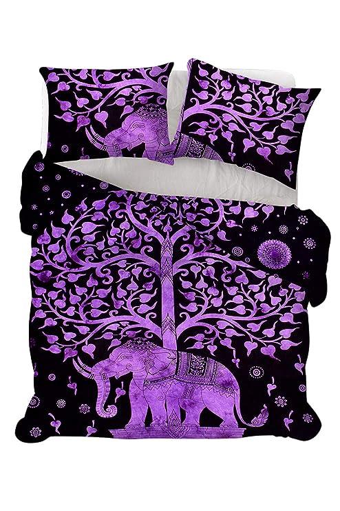 Parure de lit 82 X 82 Inch couvre-lit Queen Size Couverture Couette Marron Arbre de vie indien Mandala Housse de couette
