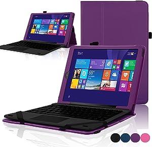 "ACdream RCA Cambio W101 Case, Protective Premium PU Leather Cover Case for RCA 10.1"" 2in1 Tablet 32GB Quad Core Windows 8.1/10.1 Tablet Model W101 (2015 Version), Dark Purple"
