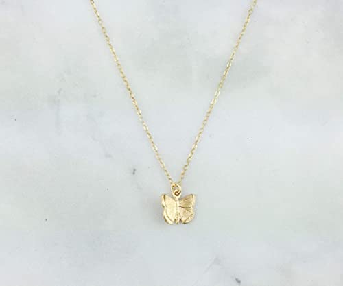 Simple Necklace Glitter Antique Brass Pendant Necklace Handmade 18 inch Necklace