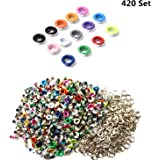 Honkoolly 420 Set 3mm Metal Eyelets Mixed Colors Round Eyelet Grommets for Scrapbooking Card Making Leather Craft Shoes…
