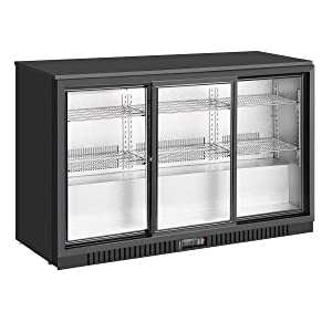 "KingsBottle 53"" Commercial Grade Back Bar Fridge with Triple Sliding Glass Door, 246 Cans 7.35 CF Storage Capacity, Unit Dimensions 53 Inch Width 21 Inch Depth 33 Inch Height"