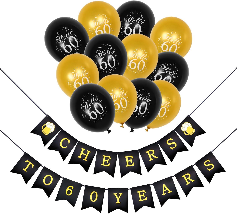 Konsait Saludos a 60 cumpleaños Decoracion Bandera Banderines, cumpleaños Globos de látex de Oro negropara para Decoraciones Fiesta de Cumpleaños de 60 Años: Amazon.es: Juguetes y juegos