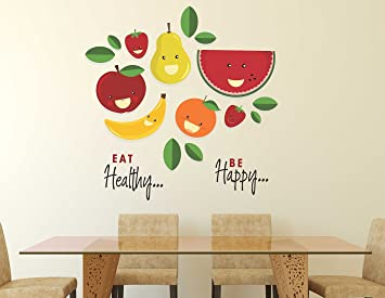 1640549304f Buy Wallstick  Eat Healthy Be Happy  Wall Sticker (Vinyl