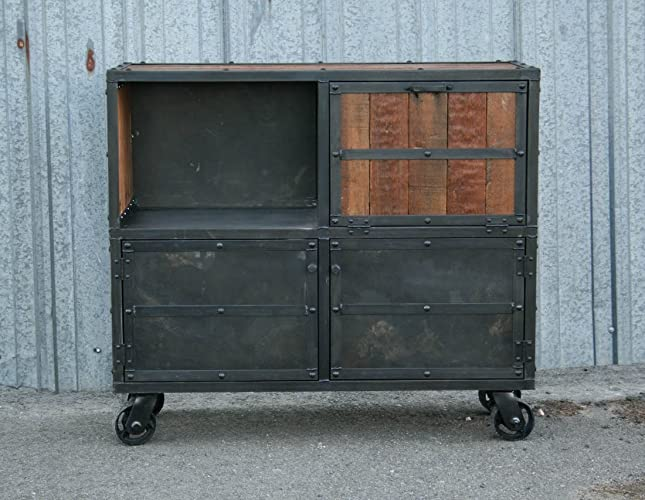 Charmant Industrial Reclaimed Wood Bar Cabinet. Modern Liquor Cabinet.