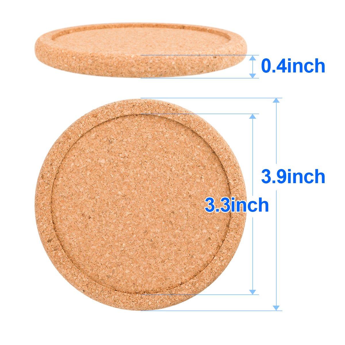 Cork Coasters For Drinks Absorbent Set 10 PCS 3.9 Diameter