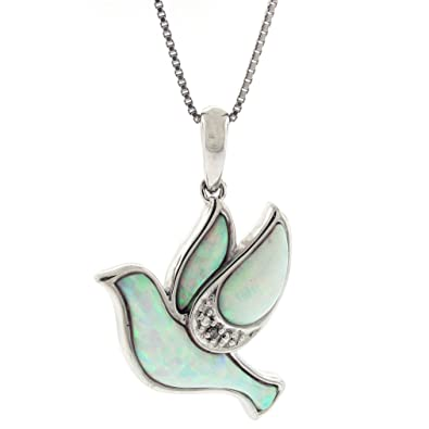 5b07dd353 Image Unavailable. Image not available for. Color: .004 cttw Diamond and Created  Opal Dove Pendant in Sterling Silver ...