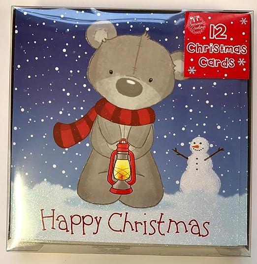 Pack de 12 lindo – Tarjetas de Navidad, diseño de ositos de Navidad tarjetas de felicitación: Amazon.es: Hogar