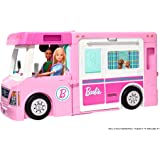 Barbie 3-in-1 DreamCamper Vehicle with Pool, Truck, Boat and 60 Accessories, Multi