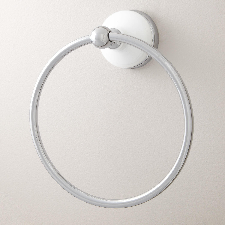 SH Naiture Wall Mount Brass Bathroom Lavatory Hardware Towel Ring Towel Holder in Chrome Finish