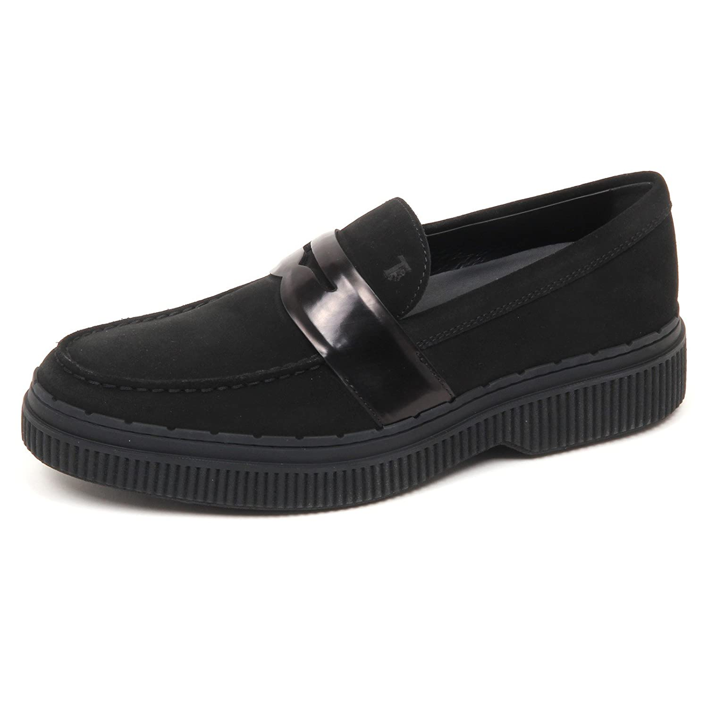 E7902 Mocassino uomo Black Tod's Scarpe Suede Loafer Shoe Man 9|Nero