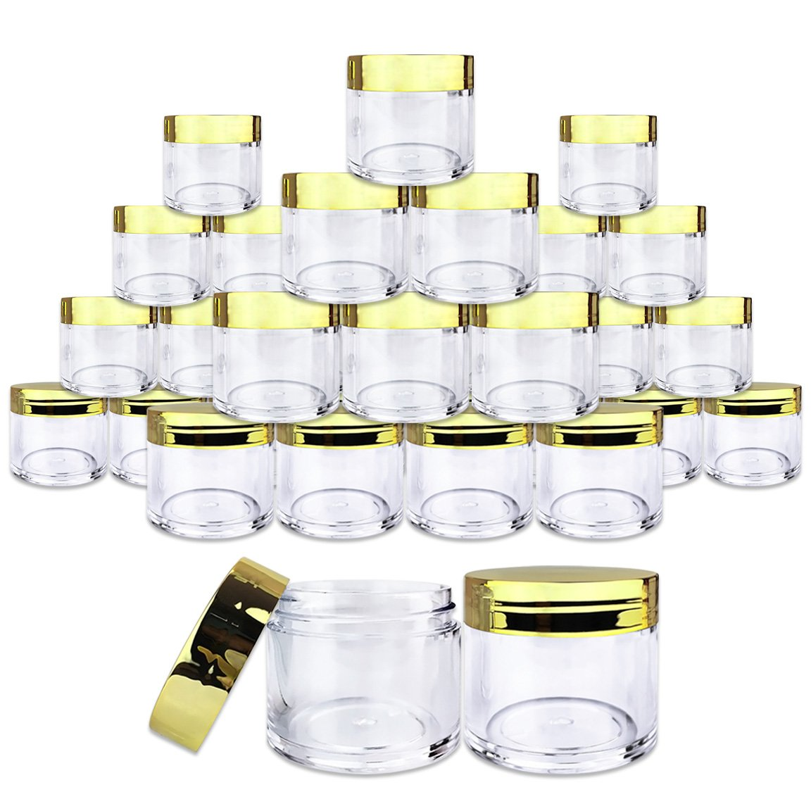 Beauticom 30 Pieces 30G/30ML(1 Oz) Round Clear Jars with Metallic GOLD Flat Top Lids for Herbs, Spices, Loose Leaf Teas, Coffee & Other Foods- BPA Free
