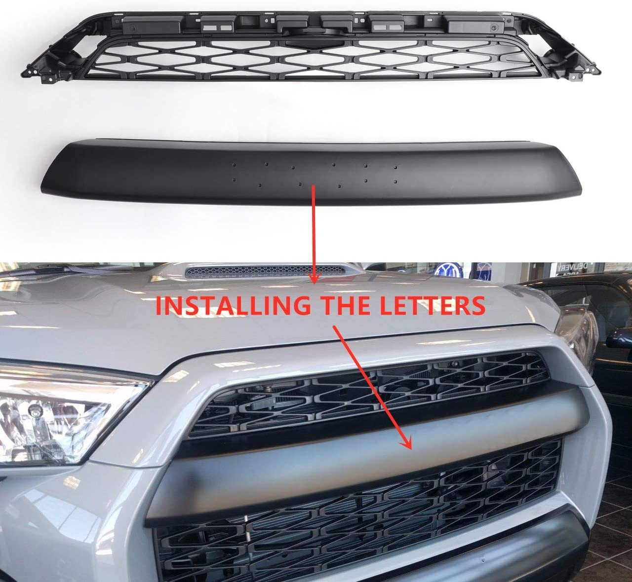 Matt Black Upper Bumper Sport Grille Replacement 2 Piece Kit Gen Front Grill Compatible with 4Runner TRD PRO Style Grille W//Six Letters