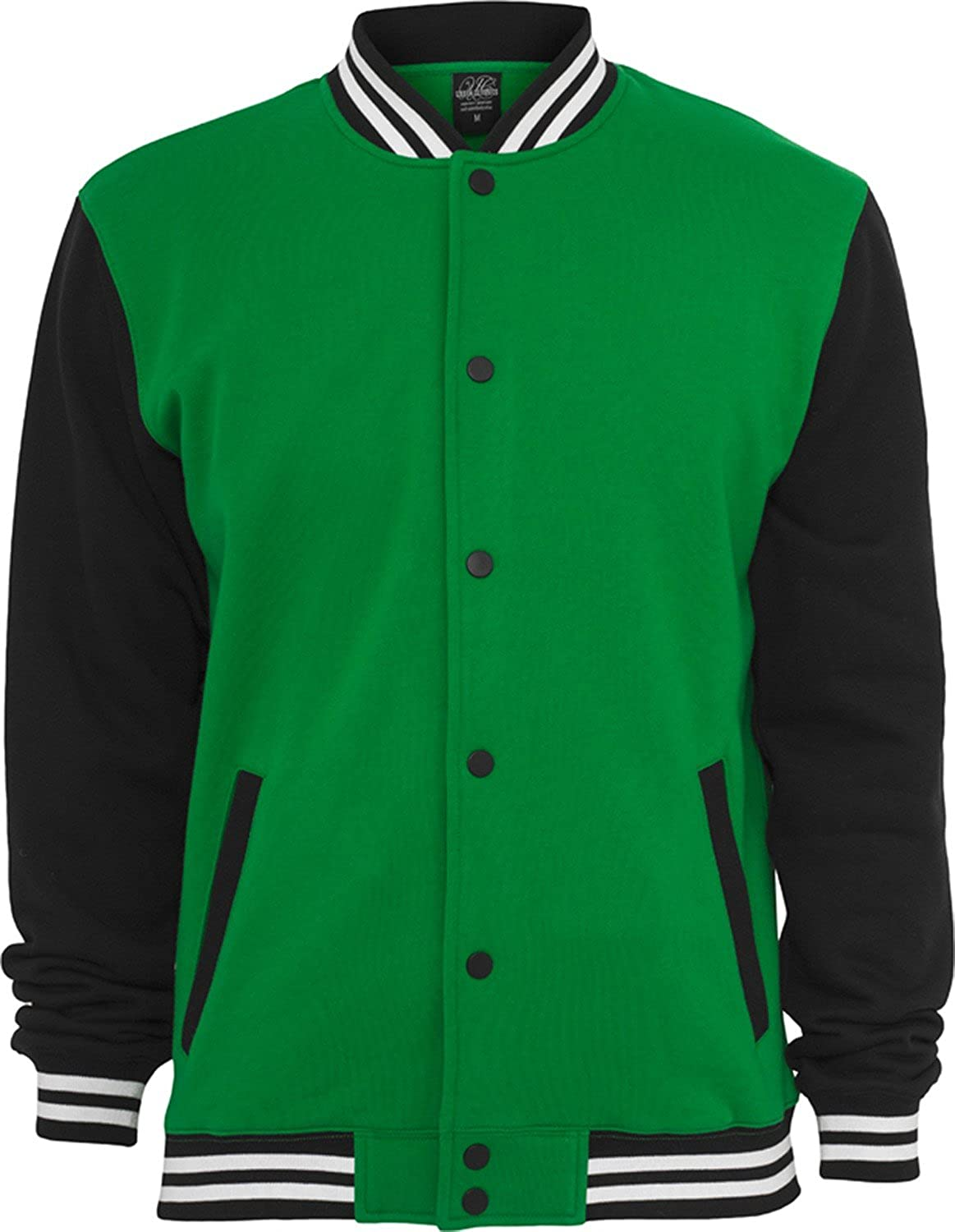 Urban Classics Men 3-tone College Sweatjacket TB444, color:c.green/black/ white;size:XXL: Amazon.co.uk: Clothing