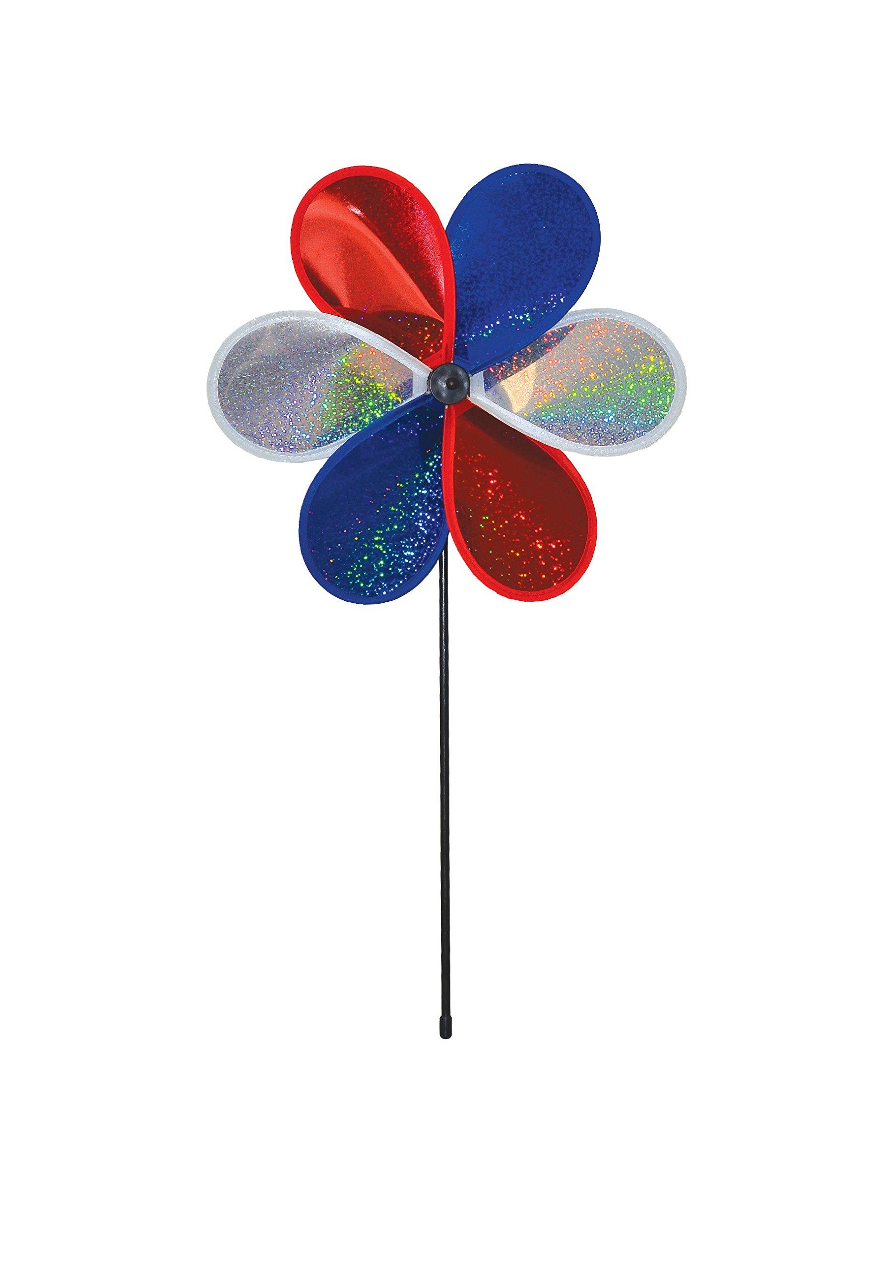 In the Breeze 6-Petal Mylar Patriot Sparkle Flower Spinner, 12-Inch
