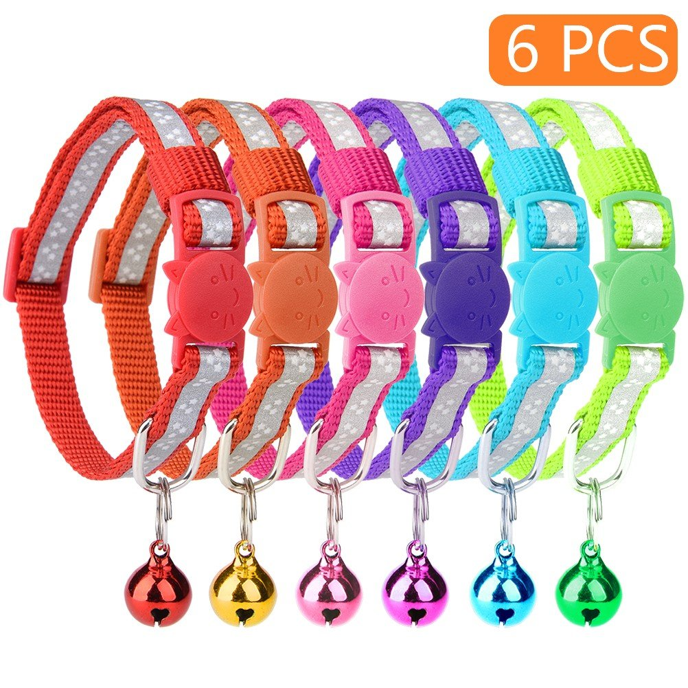 KOOLTAIL 6 Pcs Reflective Cat Collars with Bell 8''-11'' Breakaway Nylon Collars Set, Star Reflective Stripes