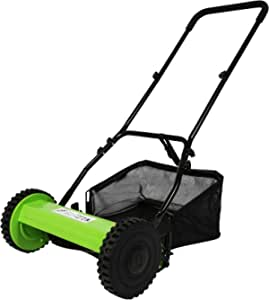 TRY & DO 16-Inch Manual Reel Mower Adjustable 5-Blade Push Lawn Mower w/Removable Grass Catcher (Dual Wheeled)
